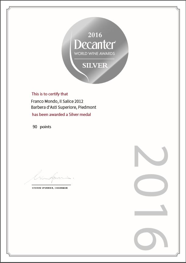 decanter silver medal 2016