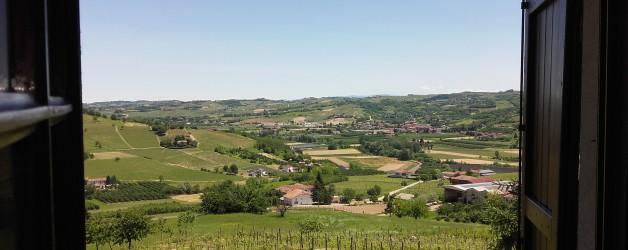 Oggi dalla nostra finestra: le colline patrimonio Unesco, le nostre vigne, i grappolini di Nizza e le rose rosse …..cosa possiamo desiderare di più?